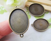 Antique Bronze Teeth Border Oval Base Setting Connector Pendant Charm/Finding,for Bracelet & Necklace,fit 18mmx25mm Cabochon/Picture/Cameo