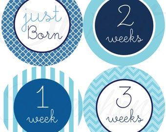 Monthly Stickers for Boys- The Blues - Just Born to 3 Weeks - Milestone Stickers - Boy Stickers - Stripes Clover Chevron - Baby Shower Gift