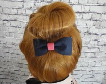Dark Blue Velvet Fabric Hair Bow  Alligator / Barrette For Girls Hair Accessory For All Hair Types