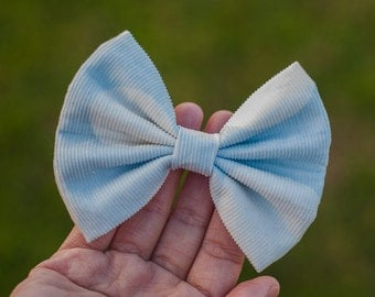 Corduroy fabric hair bow light blue and white hairbow, big white dotted hairbow clip/ alligator /barrette for girls hair accessory