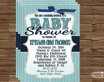 denim baby shower invotation boy b abyshower invitation pinstripes