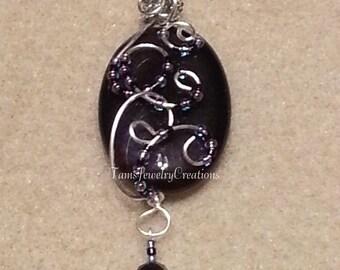 Purple-Black Agate Gemstone Wire Wrapped Pendant