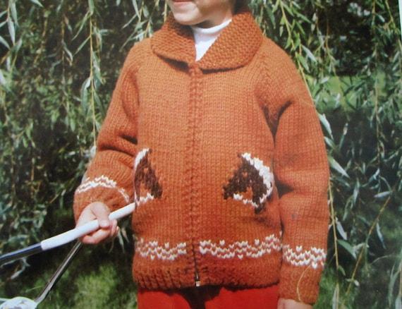 HORSE SWEATER JACKET Knitting Pattern for Children Vintage