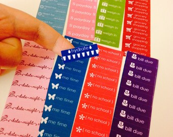 """Custom Event Sticker Labels for Planners Set of 80 1.5"""" x .50"""" Stickers"""