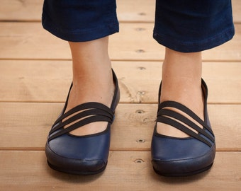 Blue Vegan Leather Shoes, Blue Flat Shoes, Loafers, Elastic band shoes , Free Shipping