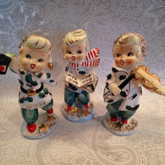 Singing Carolers Candleholders Figurines Vintage By: Vintage Lefton Christmas Carolers Made In Japan