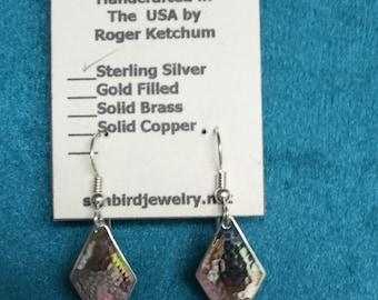 Sterling Silver Earrings Hammered Diamond Shape