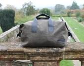 Holdall Weekender Bag, Desert Moss Waxed Cotton & Leather Holdall, Olive Green Holdall, Black Leather Trim, Weekender Travel Bag