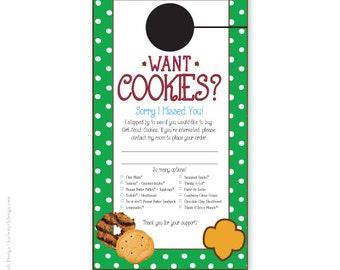 Personalized girl scout cookie sales door hanger