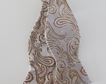 Mens Bow Tie Taupe Paisley On Creamy Taupe Self Tie Bow Tie