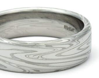 Damascus Steel Ring for Men – Unique Wedding Band – Flat with Powerful Swirling Current Pattern. Stainless Steel Mokume Gane Handmade Ring.
