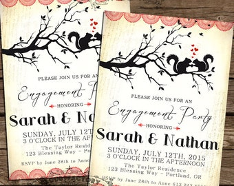 Woodland Engagement Party Invitations - Squirrels in LOVE -  printable diy Red Hearts Black Vintage Rustic -  Digital File No.385