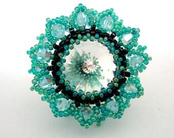 Peyote Ring / Adjustable Ring /  Swarovski Ring / Swarovski Beads Ring / Colorful Ring / Beaded Ring