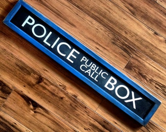 "Vintage wooden sign 'Police Public Call Box"" decorative sign"