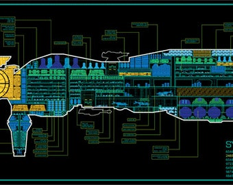 Highly detailed schematic of the USS Sulaco from Aliens