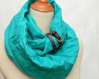 Linen scarf, Linen Infinity Scarf, Chunky Scarf, Natural Linen, Turquoise. Brown leather cuff.