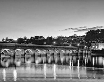 Bideford Bridge - Black and White, landscape photography, river torridge, north devon