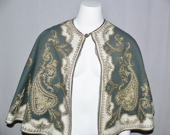 Victorian  Edwardian Cape  Trimmed with Metallic Gold Couching - Turkish