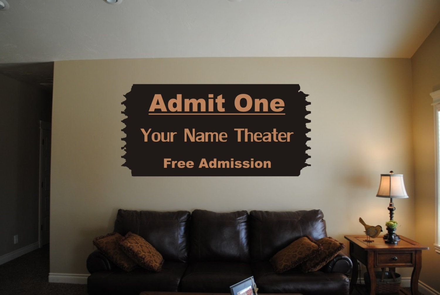 Your Name Custom Theater Wall Art Movie Ticket Admit One Decal