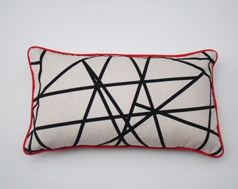 linear pillow cover, black and white, geometric cushion, decorative, pillow, accent pillow, throw pillow