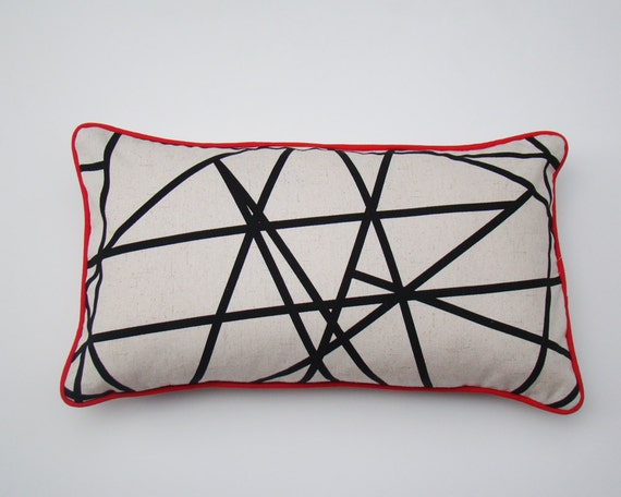 linear pillow cover black and white geometric cushion