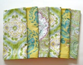 large cloth napkins set of 6 green yellow teal ikat