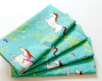 Cloth Napkins - Set of 4 - Aqua Green Horses - Dinner, Table, Everyday, Wedding
