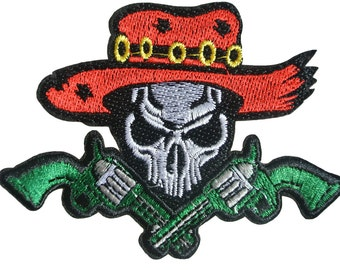 Embroidered Iron On Appliques patch Skull Cowboy and Guns NEW