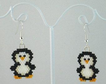 Beaded Penguin Earrings