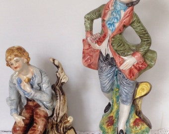 2 Large Capodimonte Boy Figurines Wearing Traditional Clothes With Certificate  : Hand Made