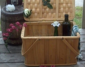 Collectible Picnic Basket all Wood with Large Hooped Handles/Dining Al Fresco/Le Pique Nique/Sewing Basket/Crafts Basket/Wedding Gift / F473