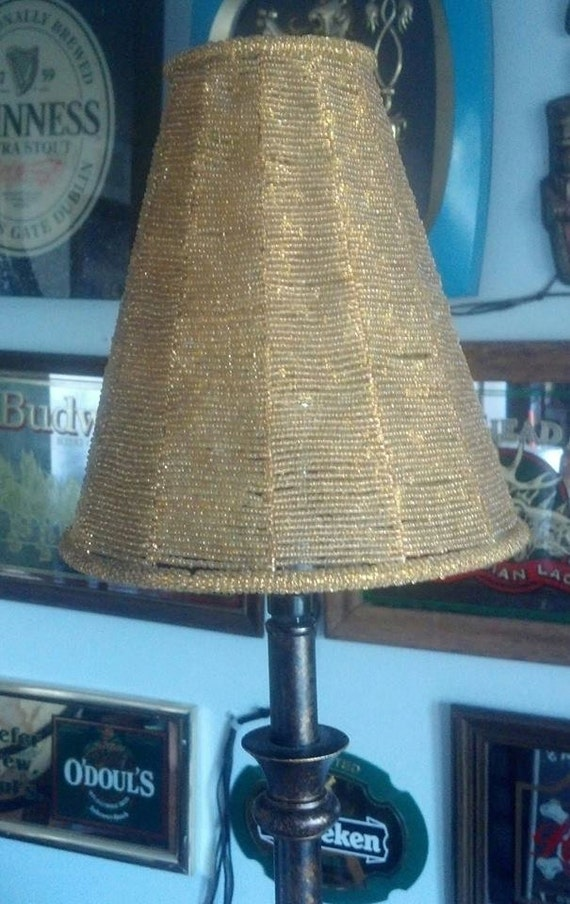 lamp shade of gold beads threaded uno fitter down bridge lamp shade. Black Bedroom Furniture Sets. Home Design Ideas