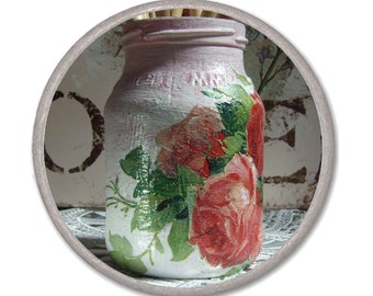 SHABBY CHIC JAR - Shabby chic rose - antique roses - decoupage and cracelures - Housewares Kitchen Jar - white pink decoupage glass decor