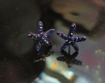 Dark Blue Tiny Starfish Earrings - Stud Earrings - Rhinestone Starfish Earrings - Beach Earrings - Beach Wedding - Nautical Jewelry