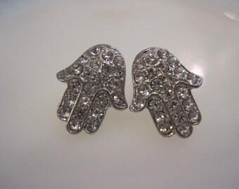 Silver Hamsa Hand Earrings - Stud Earrings - Rhinestone Hamsa Hand Earrings - Good Luck Earrings - Hamsa Hand Jewelry