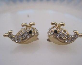 Gold Whale Earrings - Whale Stud Earrings - Rhinestone Whale Earrings - Beach Earrings - Beach Wedding - Rhinestone Jewelry