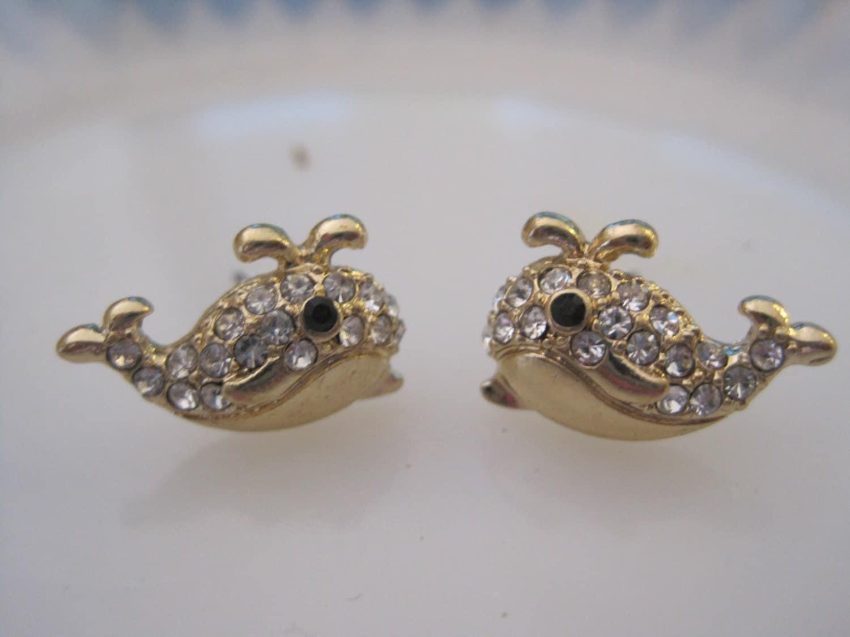 gold whale earrings whale stud earrings rhinestone whale