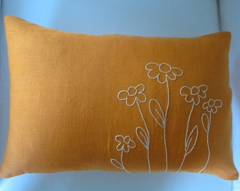 Hand-Embroidered White Daisy Flowers on Orange Linen Lumbar Pillow Cover 12 x 18 Inches