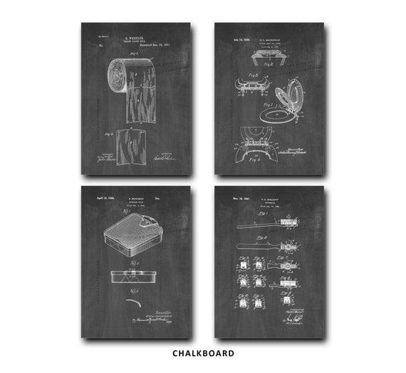Bathroom Art Print Set Of 4: Bathroom Patent Print Set Of 4 Toilet Paper Tooth Brush