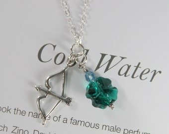"Sterling Silver Bow and Arrow Pendant Necklace with Emerald Crystal Lucky Clover Leaf Charm, 16-22"" Silver Cable Chain"