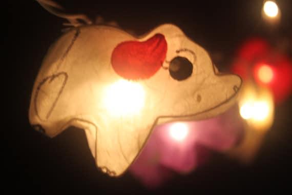 20 LED Elephants Paper Lantern String Lights for Home
