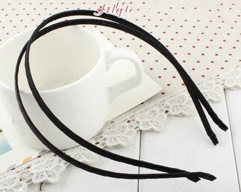 15pcs Black 5mm Satin Ribbon Covered Wrapped Metal(Steel) Headbands