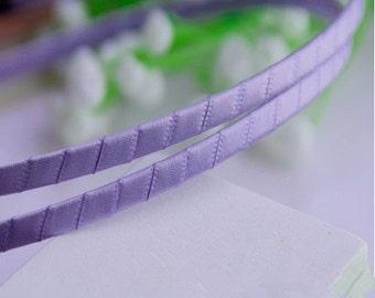 15pcs 5mm Purple Satin Ribbon Covered Wrapped Metal(Steel) Headbands