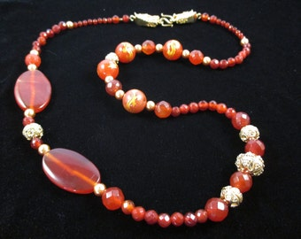 Gold Dragon and Carnelian Aysmmetrical Statement Necklace