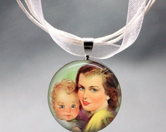 Beautiful Vintage illustration of Mother holding Baby on Pendant beautiful gift for Mother New Mum gift Baby shower gift