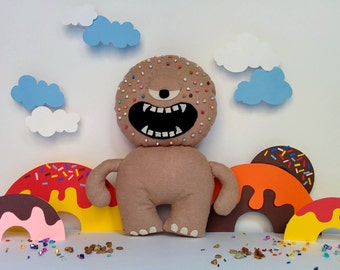 Sprinkles Mocha Donut Monster Plush - Macho Mocha, Light Brown, Round Sprinkles