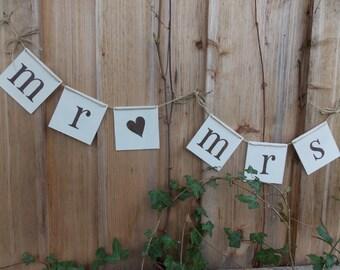 """Wedding Banner Set """"Mr/Mrs"""" - Wedding, Banner, Decoration"""