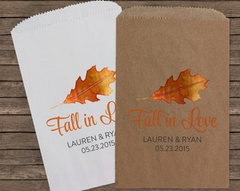 Fall in Love, Candy Bar Buffet Bags, Wedding Favors, Favor Bags, Fall Wedding, Popcorn Bags, Custom Wedding Favors, Candy Bags, Kraft 111