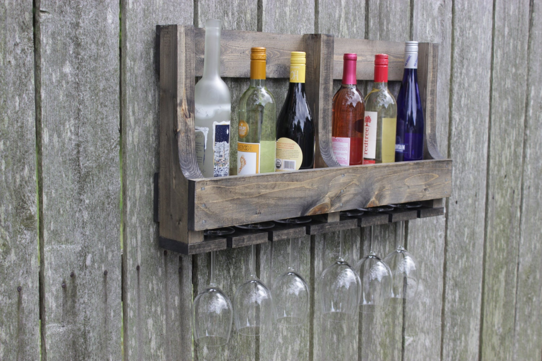 pallet wine rack 6 bottle glass reclaimed pallet wood. Black Bedroom Furniture Sets. Home Design Ideas