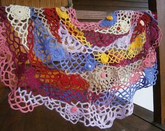 Freeform Crochet Scarf Shawl Capelet -Wearable Art-OOAK